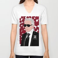 karl V-neck T-shirts featuring Karl Lagerfeld by Stephanie Jett