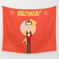 big bang Wall Tapestries featuring Sheldon Big Bang Theory  by Gary  Ralphs Illustrations