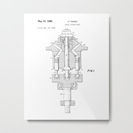 Axial Pistol Unit Vintage Patent Drawing Metal Print
