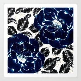 Blue large flowers Art Print