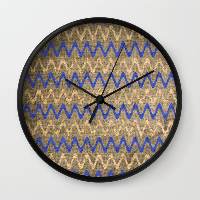 Blue and Tan Zigzag Stripes on Grungy Brown Burlap Graphic Design Wall Clock