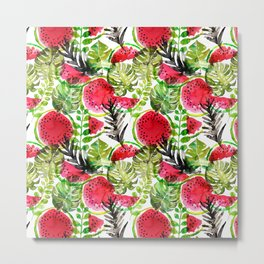 Summer watermelon and palm leaves watercolor pattern Metal Print