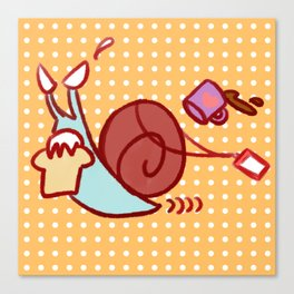 Late For Work Snail Canvas Print