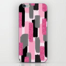 Black and Pink Glitter iPhone Skin