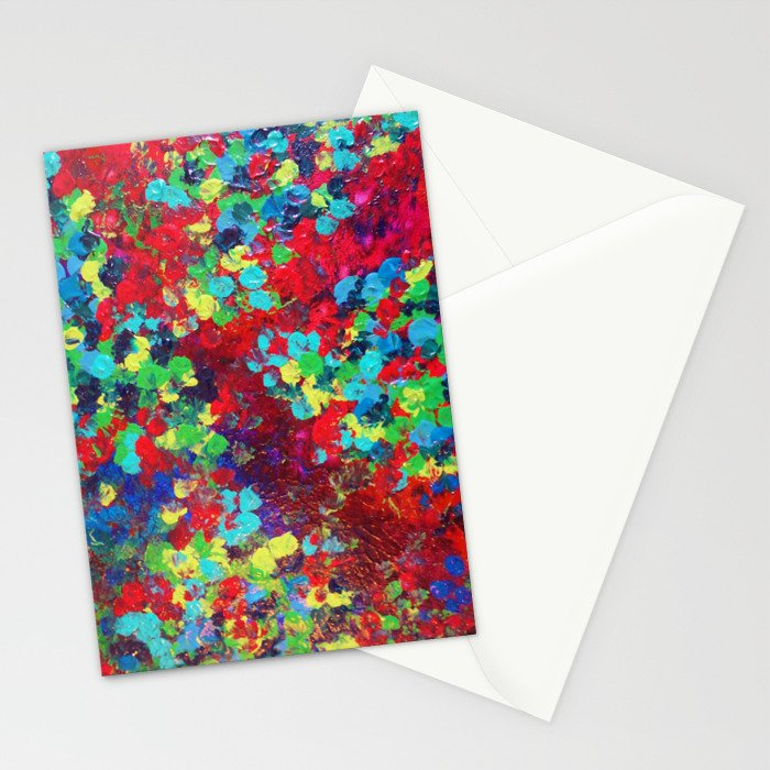 POND IN PIGMENT - Bright Bold Neon Abstract Acylic Floral Aquatic Painting Dots Pattern Trendy Gift  Stationery Cards