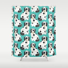 Staffordshire Dog Figurines No. 2 in Vivid Jade Shower Curtain