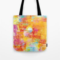 clueless Tote Bags featuring OFF THE GRID Colorful Pastel Neon Abstract Watercolor Acrylic Textural Art Painting Nature Rainbow  by EbiEmporium