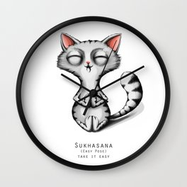 yoga cat sukhasana Wall Clock