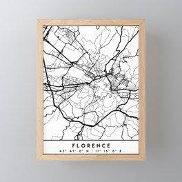 FLORENCE ITALY BLACK CITY STREET MAP ART Framed Mini Art Print
