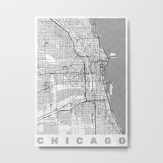 Chicago Map Line Metal Print