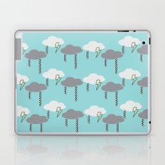 Happy Rain and Lightning - Comic Book Pencil Drawing - Blue, White, Grey, Yellow Laptop & iPad Skin