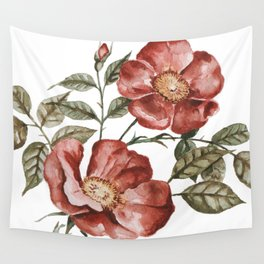 Red Floral Painting Wall Tapestry