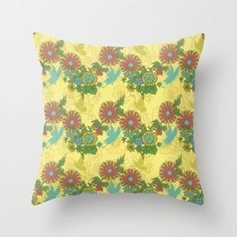 Garden Charm 8:  butterflies and blooms in fresh boho colors Throw Pillow