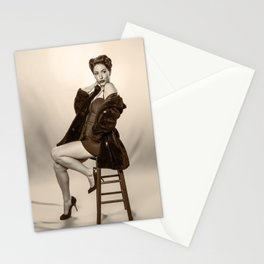 """Show a Little Shoulder"" - The Playful Pinup - Vintage Pin-up Girl in Coat by Maxwell H. Johnson Stationery Cards"
