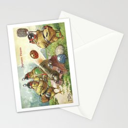 Easter chicks at War firing brightly colored Easter eggs from toy cannons Stationery Cards