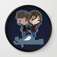 supernatural Wall Clocks featuring Supernatural by Alex Mathews
