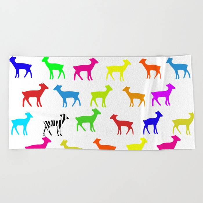 Colorful Animals Pattern Beach Towel