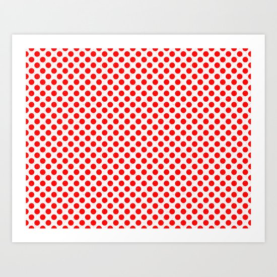 Polka Dot Red and White Pattern Art Print