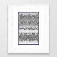newspaper Framed Art Prints featuring Newspaper Stripe by Vikki Salmela