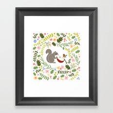 Friendship in Wildlife_Squirrel and Robin_Bg White Framed Art Print