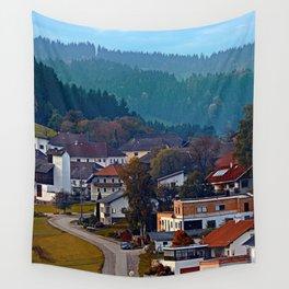 Autumn season village panorama   landscape photography Wall Tapestry