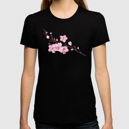 Geometric Japanese Sakura - Cherry Blossoms on White Background T-shirt