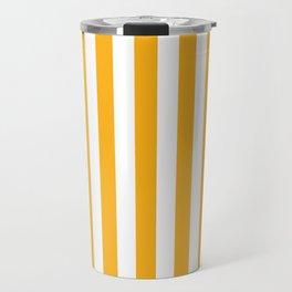 Beer Yellow and White Vertical Beach Hut Stripes Travel Mug