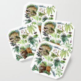 Fungi & Ferns White Coaster