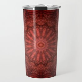 Bright red Bohemian mandala design Travel Mug