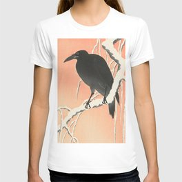 Crow in the winter - Vintage Japanese Woodblock Print Art T-shirt