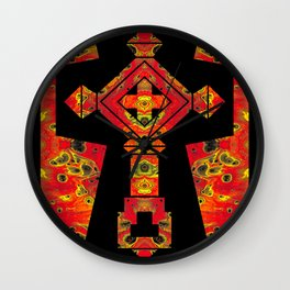 Cross of Ages in Red Wall Clock