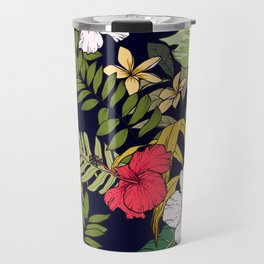 Tropical Island Oasis Floral Pattern Travel Mug