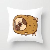 potato Throw Pillows featuring Puglie Potato by Puglie Pug