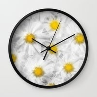 daisies Wall Clocks featuring Daisies by Klara Acel