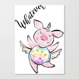 Funny pig lover gift women, Flying pig, Pig Unicorn, Unicorn pig, Flying piggy Unicorn Canvas Print