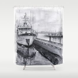 Kirkland Marina Waterfront Boat Watercolor Seattle Shower Curtain