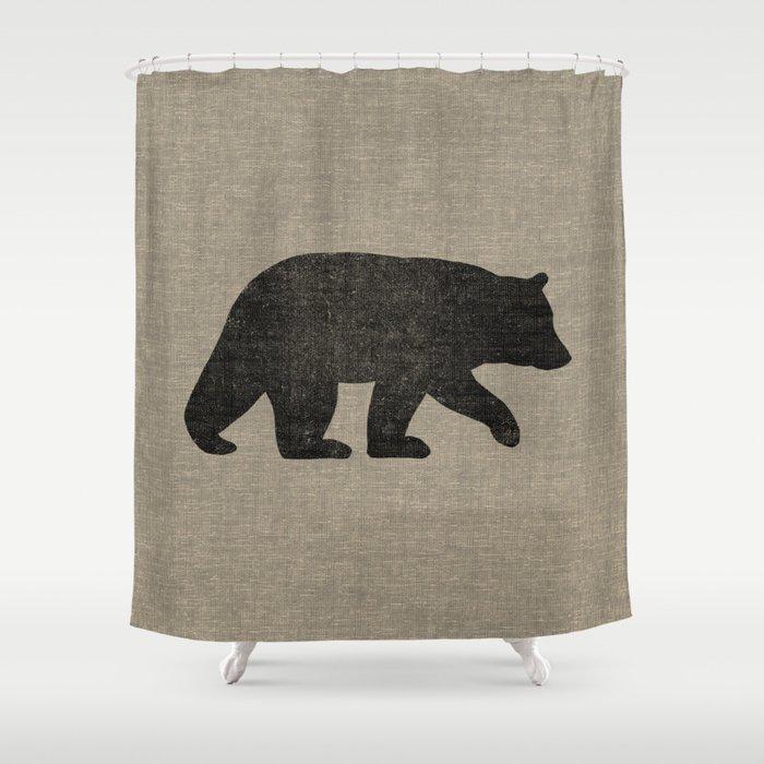Black Bear Silhouette Shower Curtain