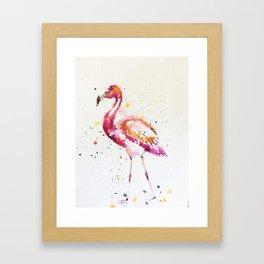 flamingo water color art Framed Art Print