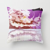bleach Throw Pillows featuring Pink Bleach by Bzerk Creative