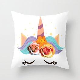 Cute Sleeping Unicorn Face with Flowers & Stars design Throw Pillow