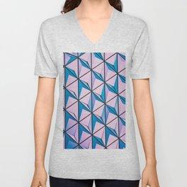 Pink Blue Geometric Triangle Pattern Unisex V-Neck