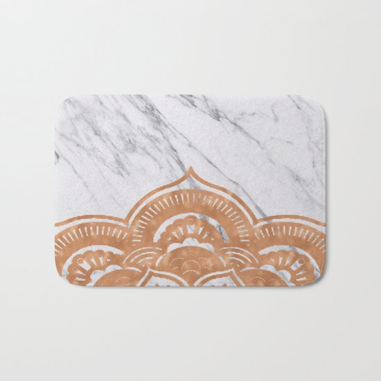 Copper mandala on marble Bath Mat