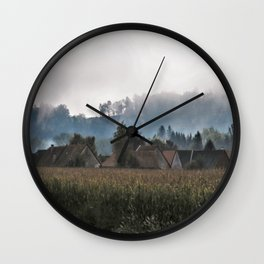 foggy morning above the village Wall Clock