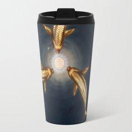 Golden Koi and Lotus Travel Mug
