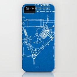 1902 J. F. Merkel Motorcycle Blueprint Patent iPhone Case