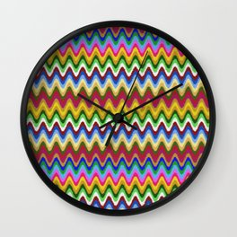 Rainbow, multicolored waves in ethnic style Wall Clock