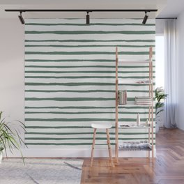 Pastel green hand painted watercolor stripes Wall Mural