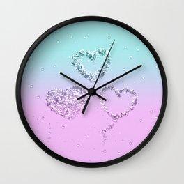 Mermaid LOVE Glitter Hearts #1 #shiny #decor #art #society6 Wall Clock
