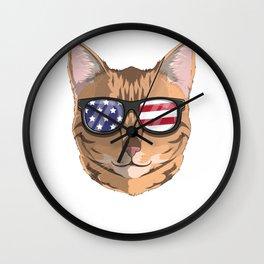 Patriotic Bengal Cat Kitty Merica American Flag Wall Clock