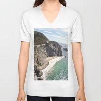 big sur V-neck T-shirts featuring Big Sur Bridge by The Aerial Photography Shop